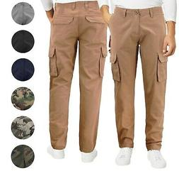 Men's Cotton Tactical Work Trousers Multi Pocket Military Ar