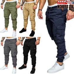 Men's Elastic Waist Slim Trousers Casual Cargo Work Combat J