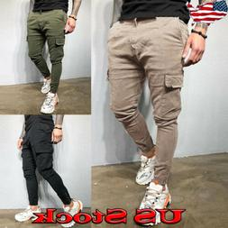 Men's Fashion Slim Pocket Straight Leg Trousers Casual Penci