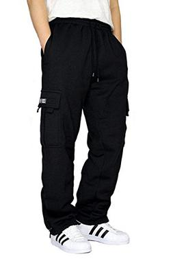 DREAM USA Men's Fleece Cargo Sweatpants Heavyweight