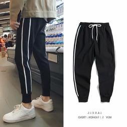 Men's <font><b>Pants</b></font> with 2 white stripes sweatpa