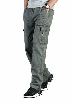 Men's Full Elastic Waist Loose Fit Workwear Pull On Cargo Pa