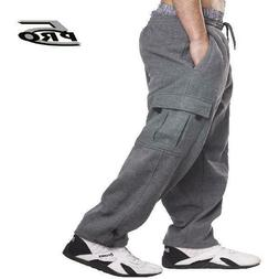 PRO 5 Men's Heavy Weight Fleece Cargo Pants Gym Work Pants D