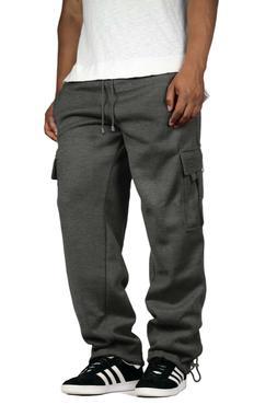 Men's Fleece Cargo Sweatpants Heavyweight Casual Track Pants