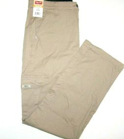 Men's Wrangler khaki Flex Waist Cargo Pants Relaxed Fit Stra