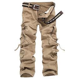 Men's Loose Cotton Casual Multi-Pocket Cargo Pants#K03-Khaki