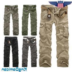 Men's Loose Pocket Urban Straight Leg Trousers Casual Milita