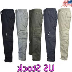 Men's Military Elastic Waist Cotton Cargo Pants Combat Camo