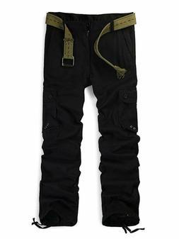 Ochenta Men'S Multi Pockets Utility Cargo Pants, Casual Cott