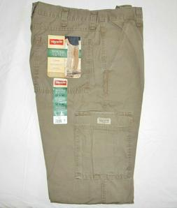 Men's Wrangler RipStop Cargo Pants Khaki Relaxed Fit Tech Po