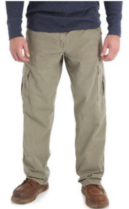 Men's Wrangler RipStop Cargo Pants Khaki Relaxed Fit Tech Po