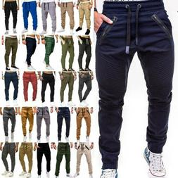 Men Slim Fit Urban Straight Leg Trousers Casual Pencil Jogge