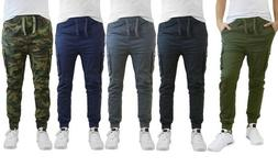 Men's Stretch Cotton-Blend Slim Fit Cargo Jogger Pants