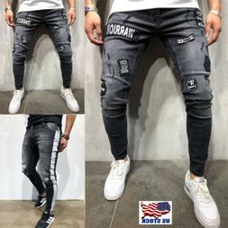 Men's Stretchy Ripped Skinny Biker Jeans Destroyed Taped Pat