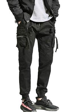 MOKEWEN Men's Zipper Pocket Multi Cargo Ankle Band Jogger Ha