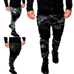 Men Camo Cargo Joggers Jogging Running Pants Army Bottom Tra