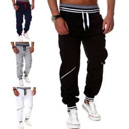 Men Slim Fit Urban Straight Leg Trousers Sport Casual Pencil
