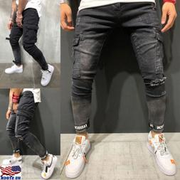 Men Stretchy Ripped Skinny Biker Jeans Destroyed Taped Cargo