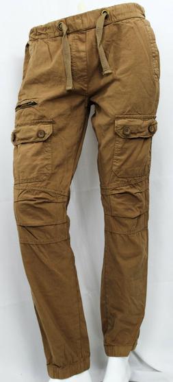 Men Twill Cargo Jogger Pants with 7 Pocket Hip Hop Slim Fit