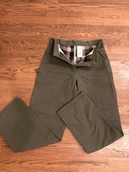 Carhartt Men'Work Flannel Lined Pants Olive Green 32x34 New