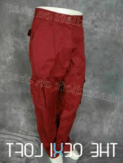 Mens 8-POCKET CARGO PANTS in BURGUNDY Button Flap Pleated Si