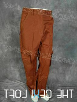 Mens 8-POCKET CARGO PANTS in RUST COLOR Button Flap Pleated