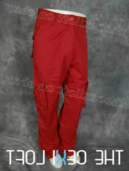 Mens 8-POCKET CARGO PANTS in Solid RED Button Flap Pleated S