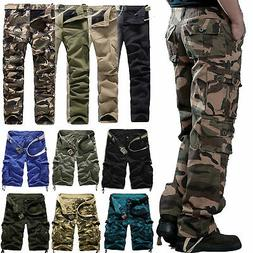 Mens Army Cargo Camo Combat Military Pockets Work Trousers C
