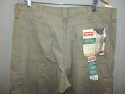 Mens Wrangler Big Man Beige Cargo Rip Stop 100% Cotton Pants