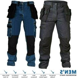 Mens Cargo Combat Work Trouser Black Blue Outdoor Cordura De