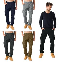 mens cargo combat work trousers chino cotton