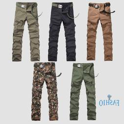 Mens Cargo Pants Casual Slim Fit Combat Trouser Camouflage A
