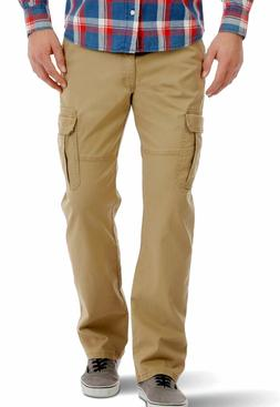 Mens Wrangler Cargo Pants w Flex Relaxed Fit Tech Pocket Elm