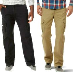 Mens Wrangler Cargo Pants w Flex Relaxed Fit Tech Pocket Bla
