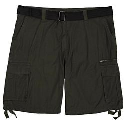 BURNSIDE Men's Cargo Shorts 44 46 Olive Short Pants Belt C