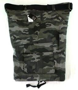 BURNSIDE Men's Cargo Shorts 44 Black Camo Short Pants w Be