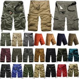 Mens Cargo Shorts Military Army Combat Camo Pants Summer Cas