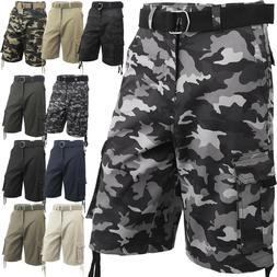 Mens Cargo Shorts with Belt 30 52 Twill Short Camo Pants Sum