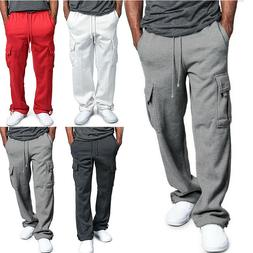 Mens Cargo Sweatpants Pocket Straight Leg Pants Sport Loose