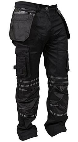 Newfacelook Mens Cargo Trousers Working Pants Cordura Knee P