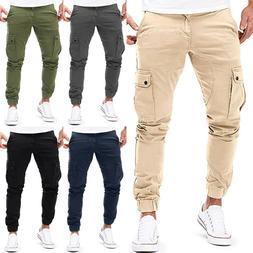 Mens Casual Pants Twill Joggers Hip Hop Jogger Slim Fit Stra