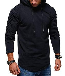 Lealac Mens Casual Pullover Hoodie Long Sleeve t-Shirt Sweat