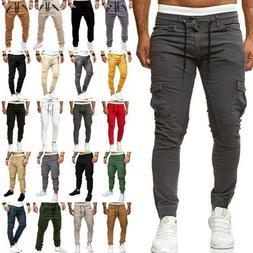 Mens Elastic Waist Skinny Joggers Slim Fit Cargo Pants Pocke