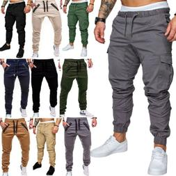 Men Sport Cargo Pants Long Trousers Tracksuit Bottoms Workou