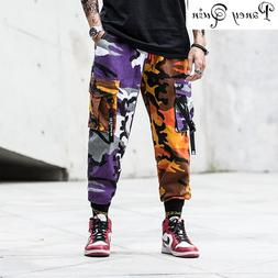 Mens Fashion Splice joggers <font><b>pants</b></font> Camo <