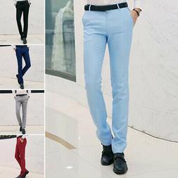 Mens Formal Business Dress Pants Slim Fit Straight Suits Tro