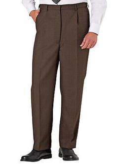 Mens High Waisted Wool Blend Trouser Pants Stretch Waistband