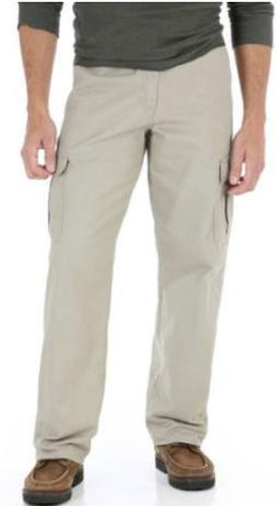 Mens Wrangler Khaki Cargo Pants Relaxed Fit w Tech Pocket Co