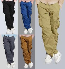 Mens Match Cargo Pants Solid Military Army Combat Style Cott