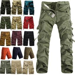 Mens Military Camo Combat Army Cargo Pants Shorts Trousers C